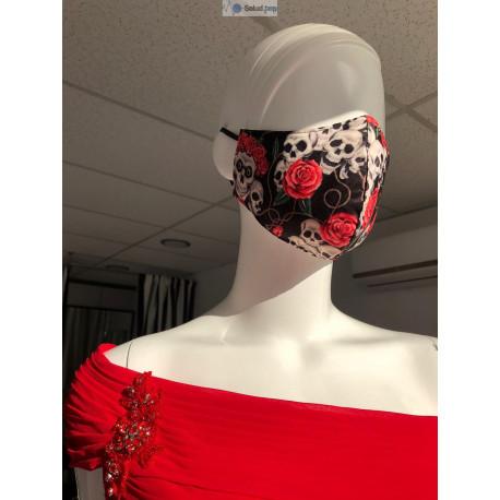 Mascarilla de diseño de tela para vestir estampada